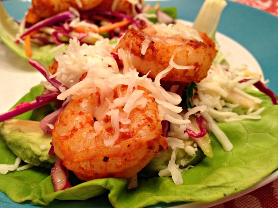 Shrimp Lettuce Wraps with Green Apple Slaw