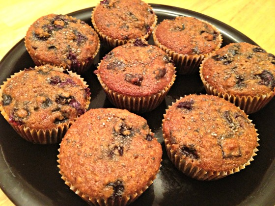 Almond Chocolate Chip Chia Berry Muffins