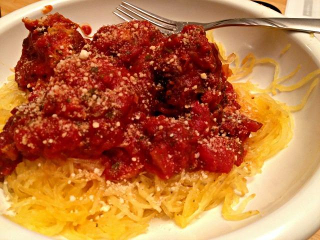 Spaghetti squash and turkey meatballs