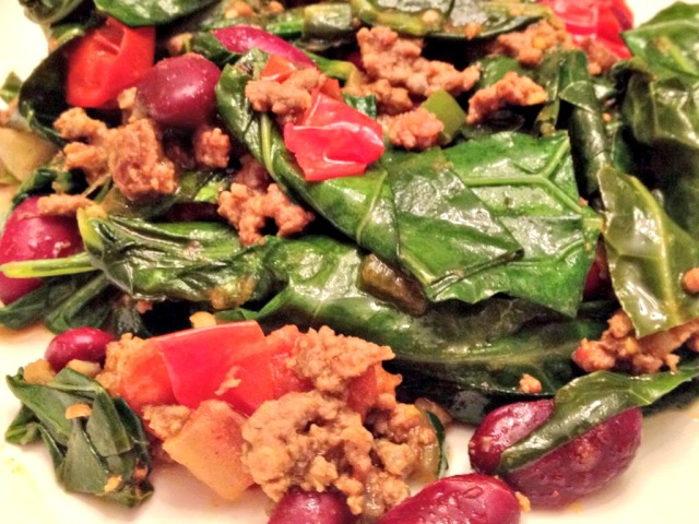 Kenyan Braised Collard Greens and Ground Beef
