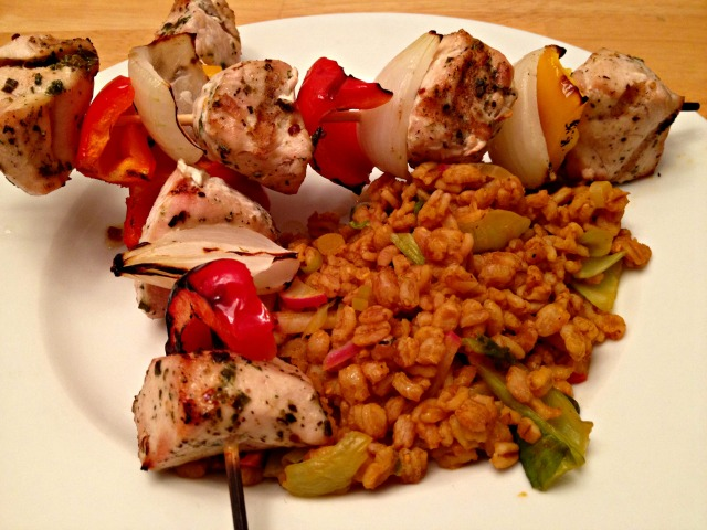 Chicken Skewers with Farro Salad