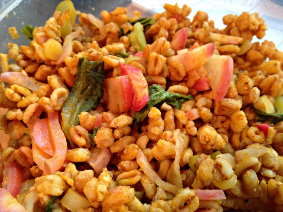 Farro salad with radishes and baby bok choy