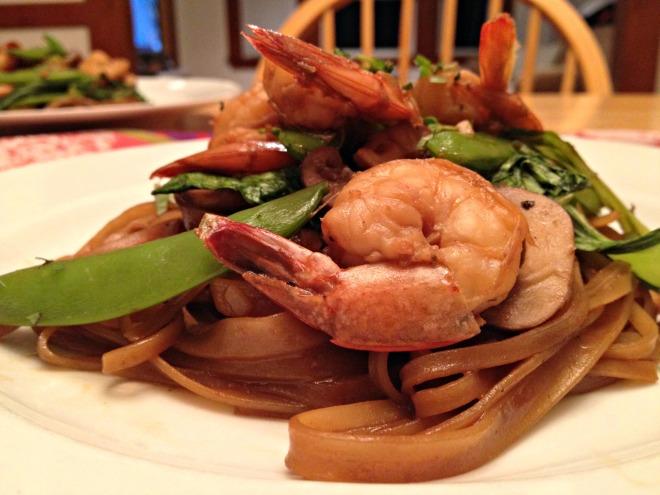 Asian style shrimp stir fry with snow peas and bok choy