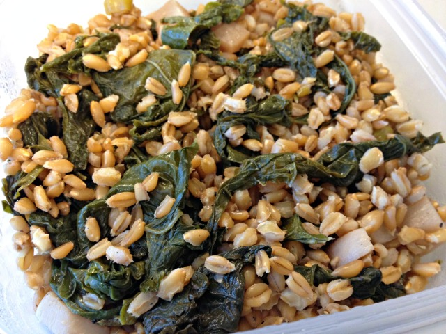 Farro salad with roasted turnips and mustard greens