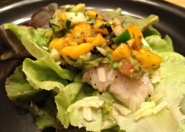 Fish lettuce wraps with mango kohlrabi salsa