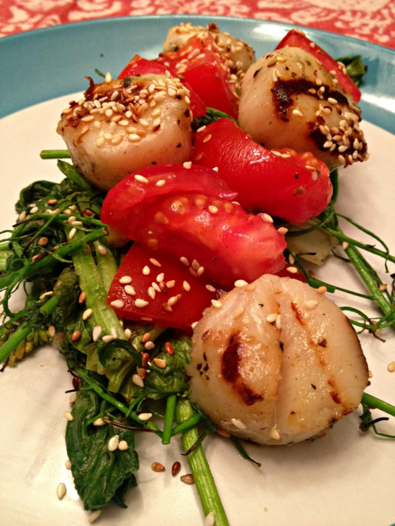 Grilled Scallops with Red Pepper Garlic Oil