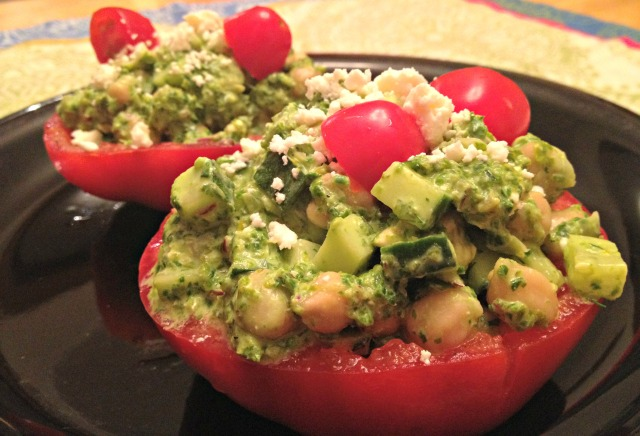 Chickpea, Cucumber, and Kale Stuffed Tomatoes