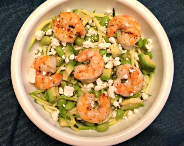 Summer 2014 CSA: Shrimp zucchini edamame salad