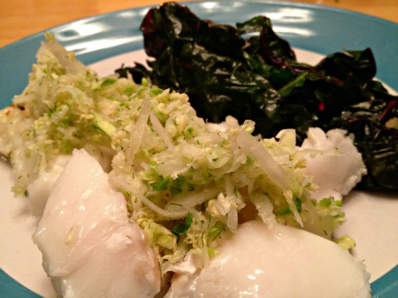 Summer 2014 CSA: Cod with kohlrabi and cabbage slaw
