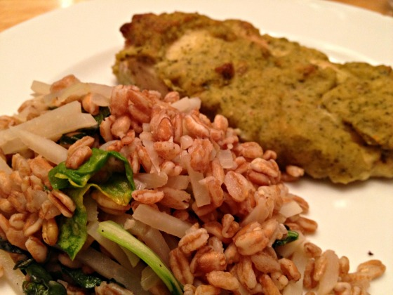 Summer CSA 2014: Hummus crusted chicken with farro, bok choy, and turnip