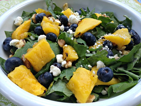 Summer 2014 CSA: Grilled mango and blueberry kale salad