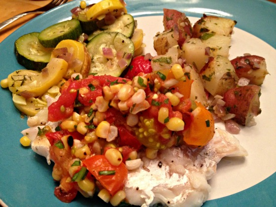 Summer 2014 CSA: Grilled haddock with tomato and corn salsa
