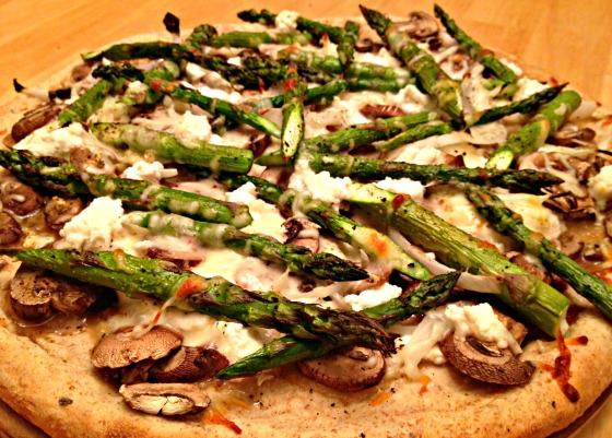 Asparagus, Mushroom, and Ricotta Pizza