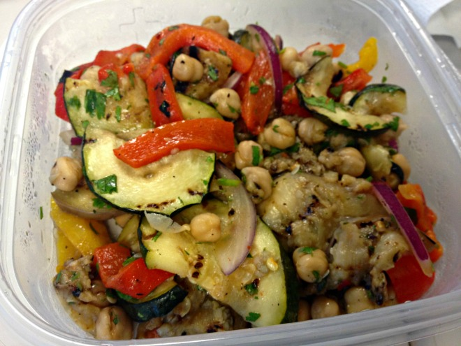Summer 2014 CSA: Roasted eggplant and chickpea salad