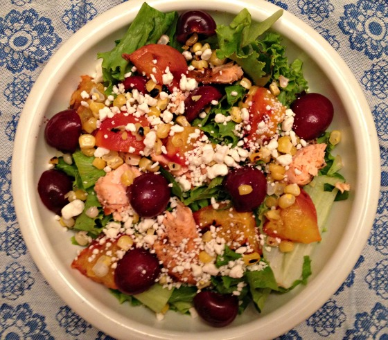 Summer 2014 CSA: Grilled peach and cherry salad