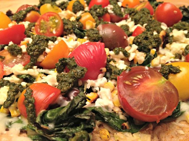 Summer 2014 CSA: Heirloom tomato pizza with corn, greens, and pesto