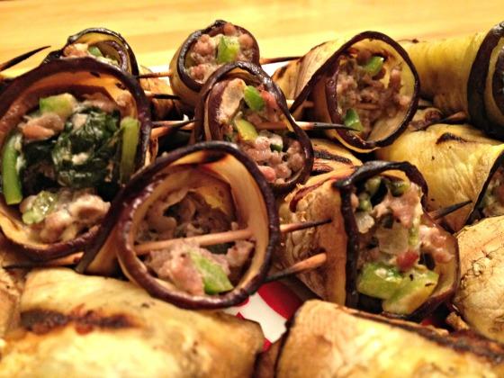 Summer 2014 CSA: Lamb stuffed eggplant rollatini