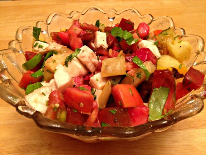Summer 2014 CSA: Heirloom tomato caprese salad