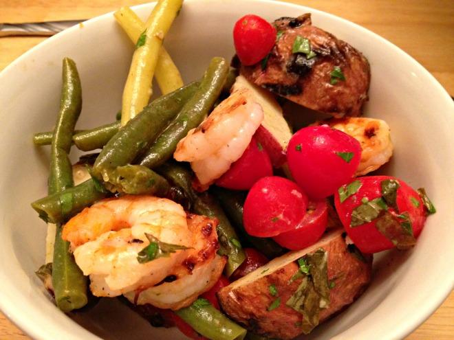 Summer 2014 CSA: Grilled shrimp Nicoise Salad