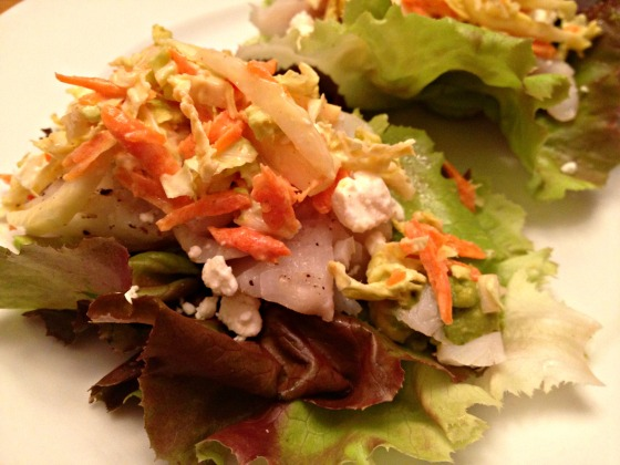 Summer 2014 CSA: Fish lettuce wraps with cabbage and carrot slaw