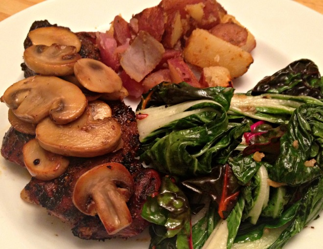 Summer 2014 CSA: Steak and potatoes with greens