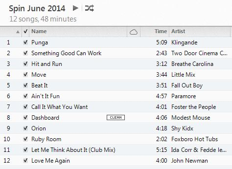 Spin Playlist June 2014