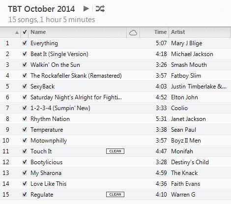 Throwback Thursday Workout Playlist October