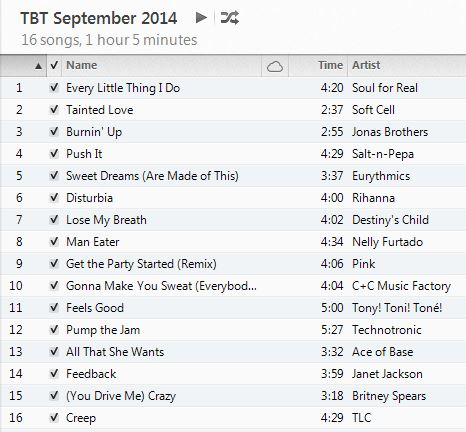 Throwback Thursday Workout Playlist September