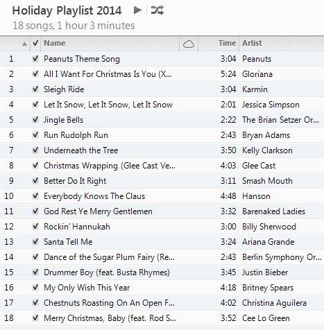 holiday playlist 2014